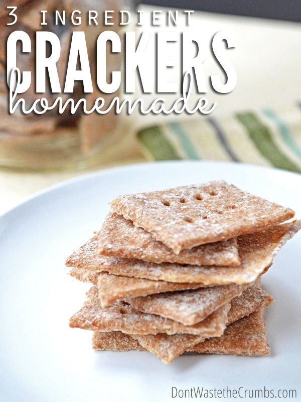 Looking for a simple snack? Check out these 3 Ingredient Homemade Crackers Using Whole Grain Wheat and/or Spelt. A simple yet delicious real food recipe to enjoy the crunch without preservatives! :: DontWastetheCrumbs.com