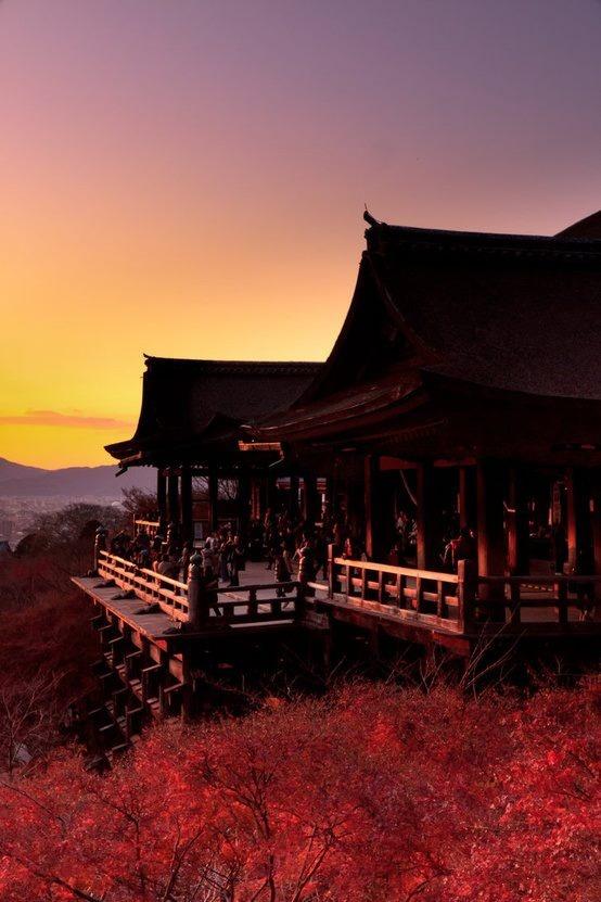 Mizudera, Kyoto -- in JAPAN  What a beautiful sunset!!!