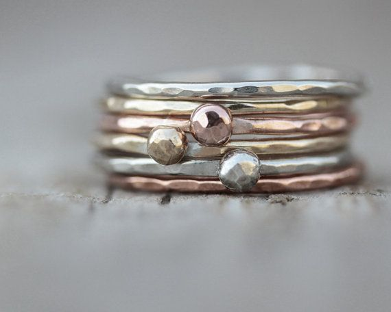 Christmas For Her - Stacking Rings - Gold Silver Rose Set of 6 - 3 Nugget Rings and 3 Stackers Mixed Metal