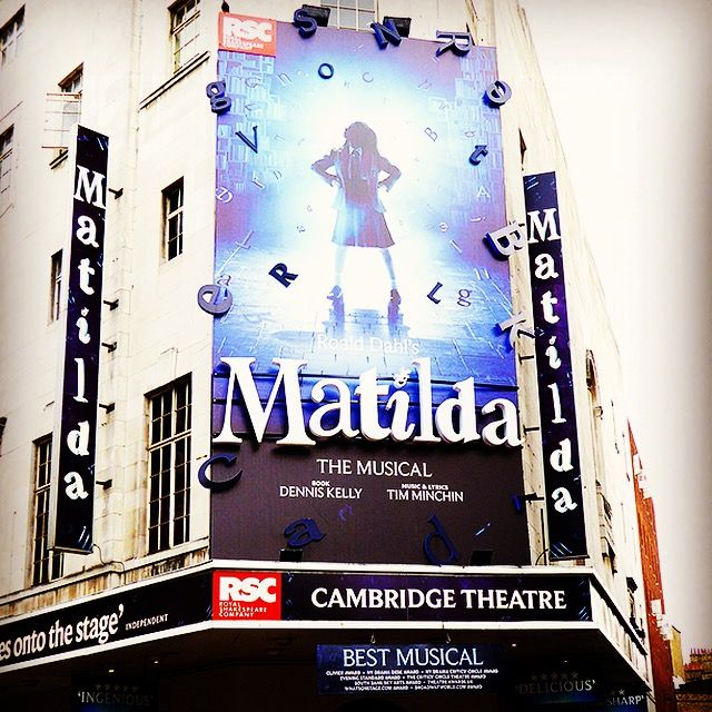 Matilda West End marquee in Covent Garden, London. Taken in 2015, the show played at the Cambridge Theatre.