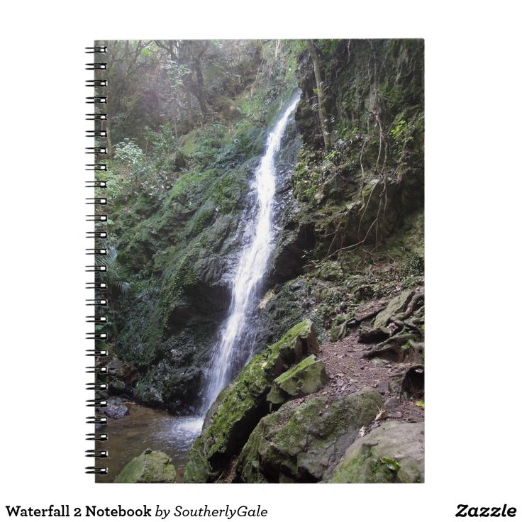 Waterfall 2 Notebook - This notebook with an image of a waterfall in Korokoro Stream at Percy's Reserve in Lower Hutt, NZ, would make a great gift for a nature lover.  It is part of a series available internationally from southerlygale.com through the Zazzle print on demand marketplace.
