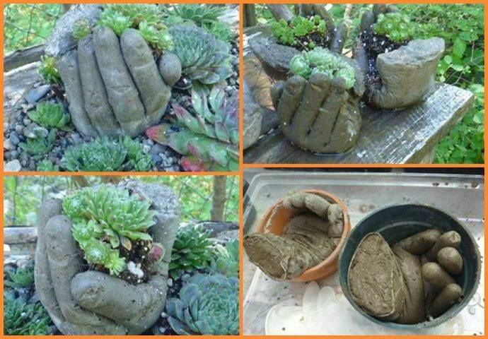 """With Concrete  An Old Pair Of Extra Large Rubber Gloves, You Can Create This Awesome """"Cupping Hands"""" To Hold A Small Plant In A Garden For That Little """"Unexpected"""" Surprise...Click On Picture For DIY Link On How To Make..."""