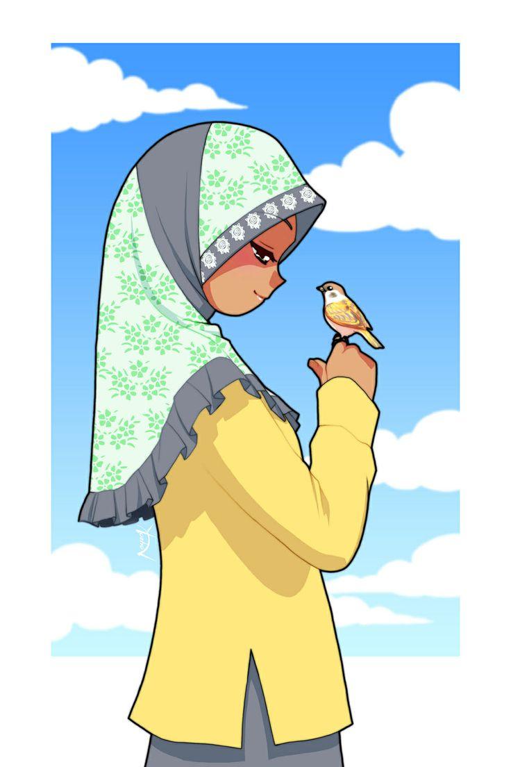 Muslim girl and bird by Nayzak on deviantart