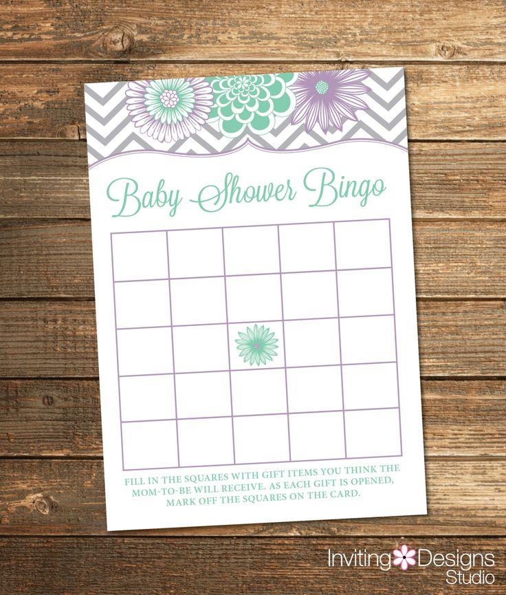 Chevron Baby Bingo Card / Bingo Game / Mint and Lavender Baby Shower / Baby Girl / Gray Chevron / PRINTABLE FILE by InvitingDesignStudio on Etsy