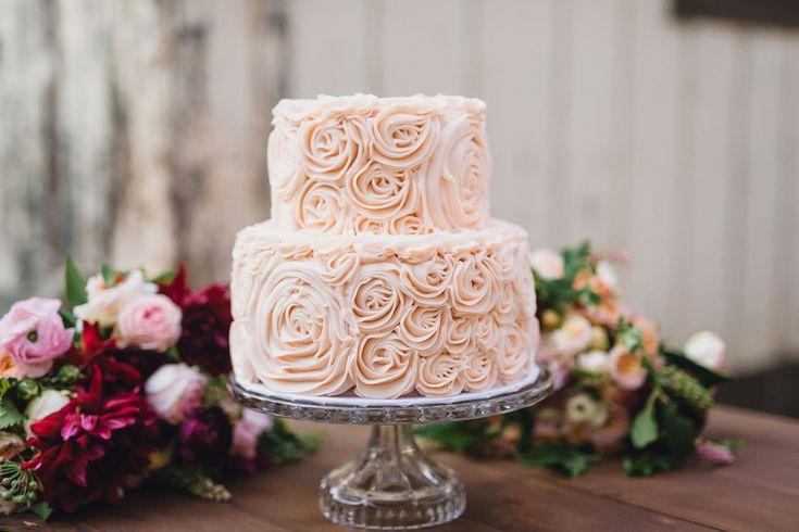 light pink rosette cake