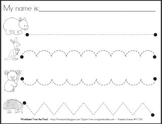 FREE pre-handwriting Worksheet  Frog Spot: Free Teaching Resources. Could put in a plastic page protector and do over and over with a dry-erase marker.