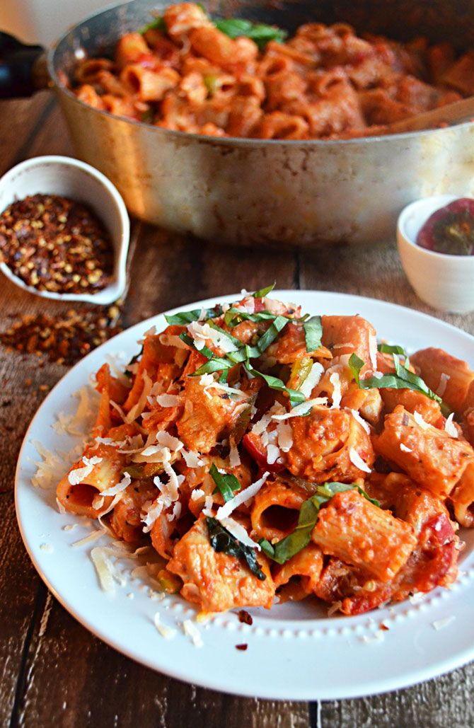One Pot Spicy Chicken Riggies.  That's right, this delicious meal is made in just one pot, from cooking the chicken to making the sauce, to boiling the pasta!  And you won't believe how insanely delicious it turns out.  One of my favorite recipes of all time.