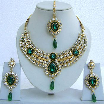 Green and Off White Studded Imitation Necklace Set Online Shopping: JNC2144