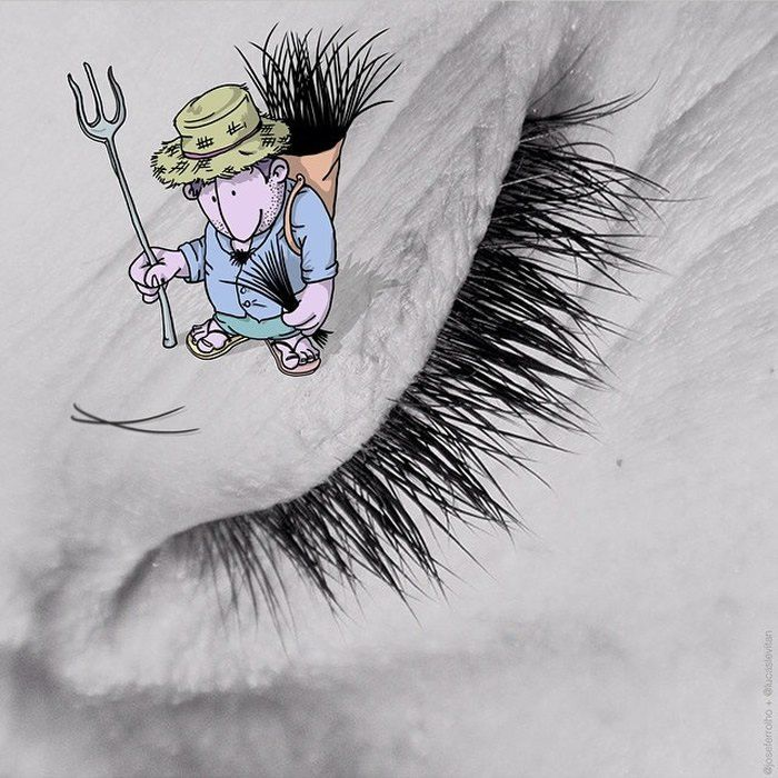 """The Eyelash Catcher  """"Photo Invasion"""" - The Awesome Illustrations Combined With Instagram Photos • Page 5 of 5 • BoredBug"""