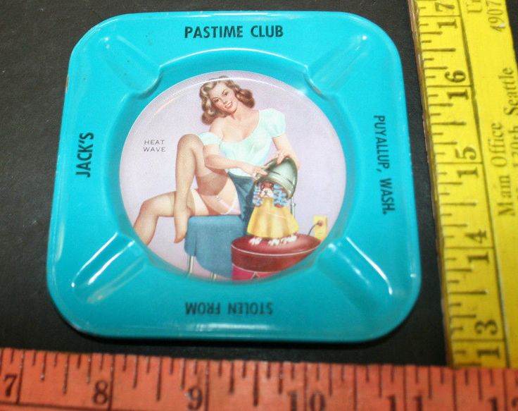 Vintage 50s Risque Pinup Tin Ashtray Stolen From Jack's Pastime Club Puyallup Wa