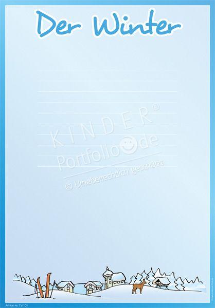 """Kindergarten Portfolio Vorlage """"Der Winter"""""""