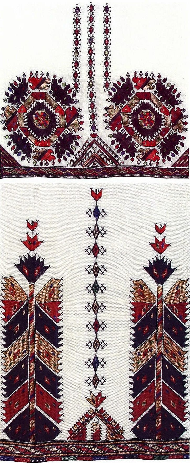 Embroidery motifs on traditional clothing, from Skopska blatija (Macedonia).  Late-Ottoman era, circa 1900.