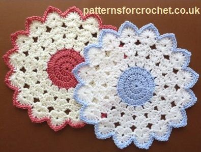 Free crochet pattern round table mat usa