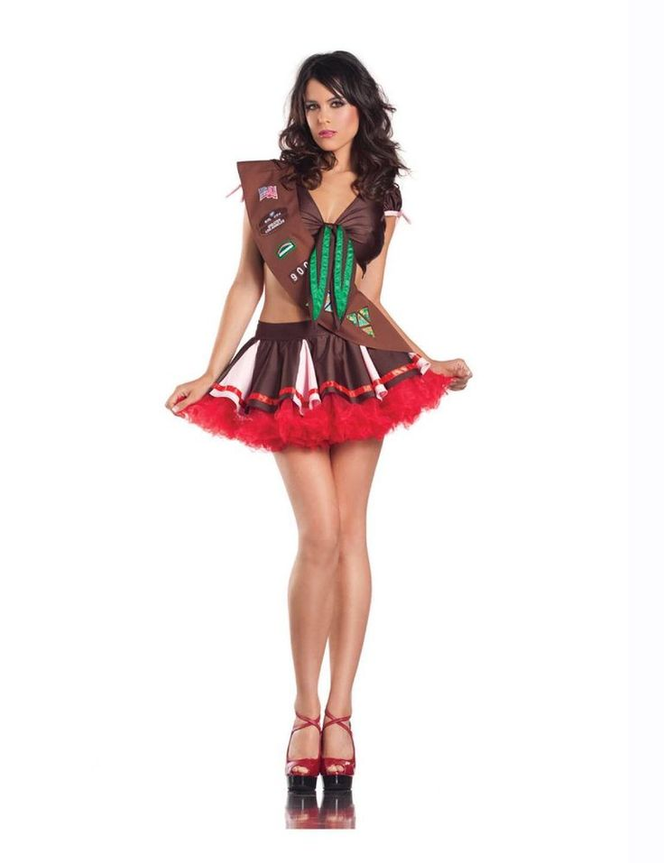 super sexy cookie girl scout costume ladies pleated skirt set tie cleavage top m - Mystical Halloween Costumes