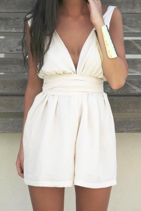 : Summer Styles, Summer Dresses, Summer Outfit, Gold Cuffs, Jumpers, Cute Rompers, Summer Chic, White Rompers, Jumpsuits