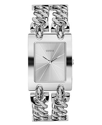 GUESS Watch, Women's Silver Tone Double Chain Bracelet 37x29mm G75916L - Guess - Jewelry & Watches - Macy's