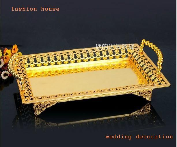 Среднего Размера золото металлический прямоугольный ришелье дизайн декоративные КТВ закуски лотки фруктовый лоток свадебные украшения