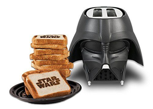 May the toast be with you! The Darth Vader Toaster works just like any other toaster, but the funny part is that it brands each toast slice with the Star Wars™ logo!