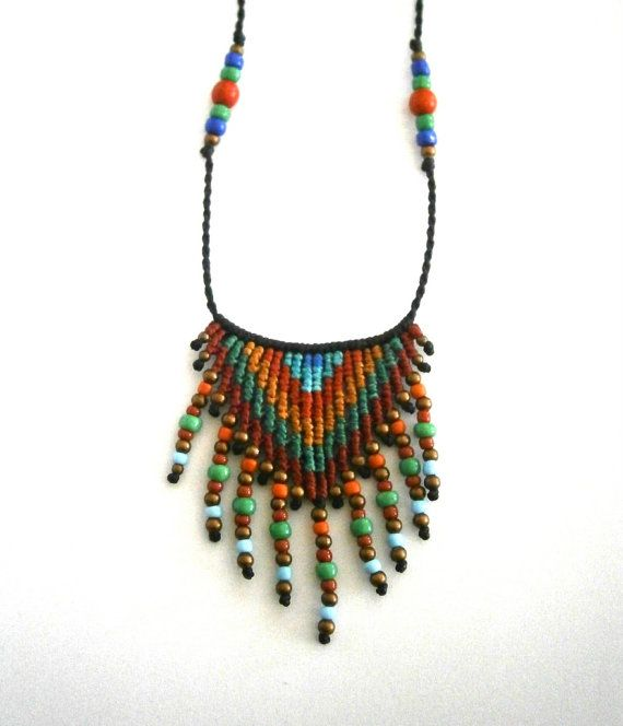 Ethnic necklace/Macrame necklace/Boho necklace/Macrame pendant/Micromacrame