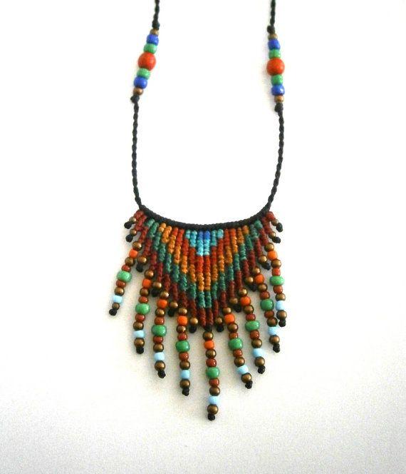 Ethnic necklace/Macrame necklace/Boho por Ancientmacrame en Etsy