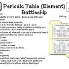 Students work in pairs.    They choose an element or group of elements (ship) somewhere on the Periodic Table (battle field) then try to find their opponents ship/element before theirs is found by asking questions and guessing elements.   Choose different element characteristics to play such as: element name   atomic number period/group number  atomic number or mass # of protons, neutrons & electrons valence electrons reactivity electronegativity  Download includes 2 Periodic Tables ...