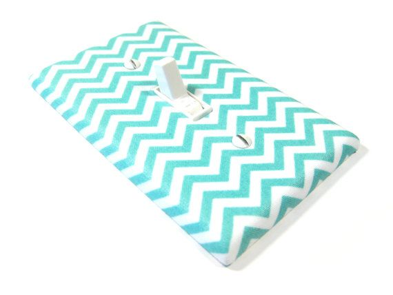Blue Turquoise Chevron Light Switch Cover Girls Nursery Decor Bedroom Decoration 1239