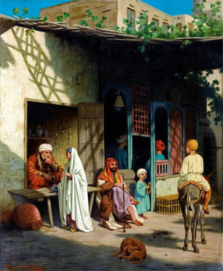 In The Souk  By Louis-Emile Pinel de Grandchamp - French - 1831 - 1894  Oil on canvas , 46,5 x 38 cm