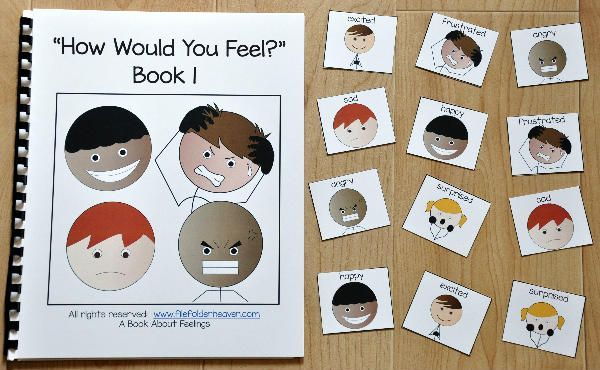 "This Emotions Adapted Book, ""How Would You Feel?"" 1, focuses on identifying feelings and emotions in a given situation. This book focuses on the emotions/feelings: happy, sad, angry, excited, frustrated and surprised. In this activity, the teacher or therapist reads the book to a small group of students, as students follow along and identify which emotion they might feel in a given situation. Sample Text: ""Feelings are honest and feelings are real. In each situation, how would you"