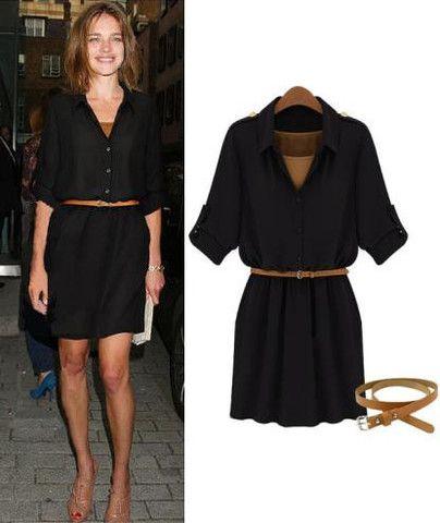 Natalia Vodianova Casual Jet Black Dress with Belt