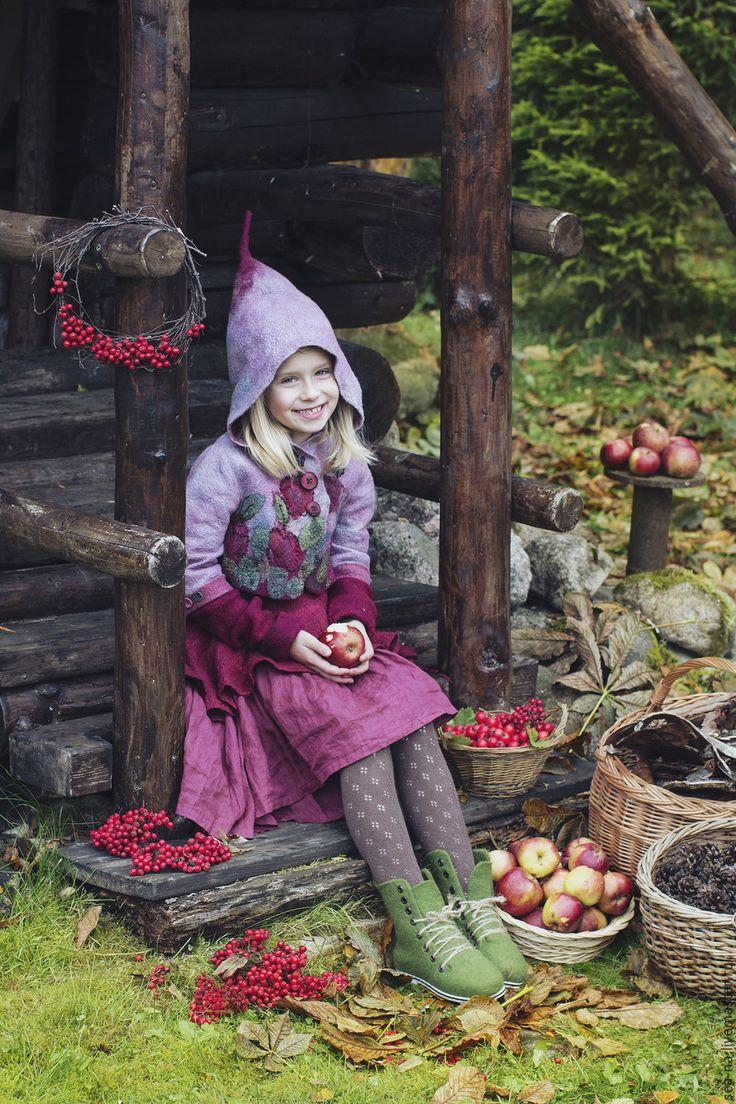 Купить Марью из серии Лесная деревня - белый, валяная детская куртка, валяная куртка