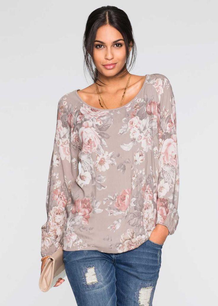 Блузка, BODYFLIRT, серо-коричневый в цветочек