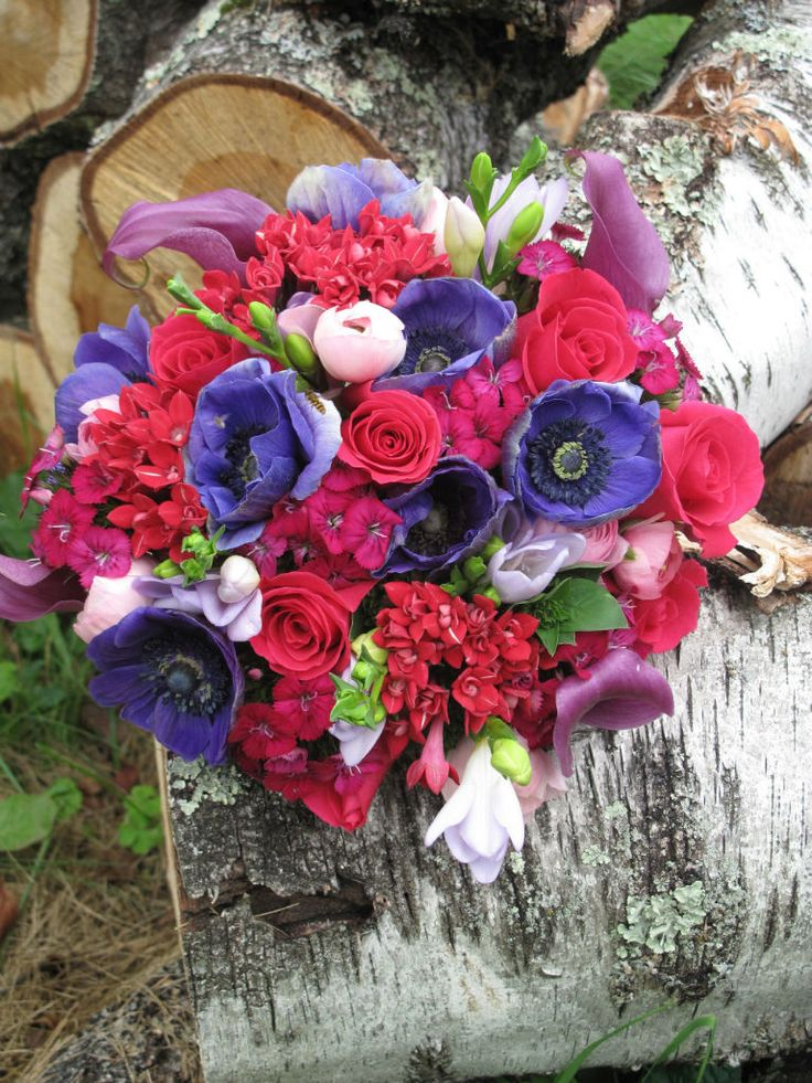 Purple And Raspberry Pink Flowers For Wedding At Grand Isle Lake House