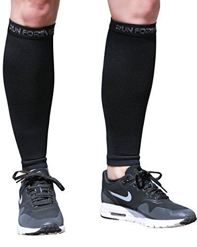 Calf Compression Sleeves – Leg Compression Socks for Shin Splint, Varicose Vein & Calf Pain Relief – Men, Women, and Runners – Calf Guard Great for Running, Cycling, Maternity, Travel (Black, Small) | EXERCISE WITH JOY
