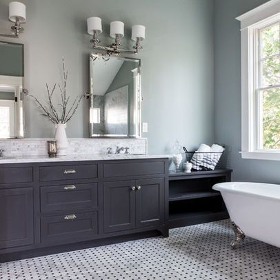 Painted bathroom pale grey blue dark grey vanity for What color to paint bathroom with gray tile