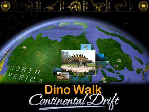Dino Walk: Continental Drift - en interaktiv karta med tidslinje, jordens utveckling, kontinenternas rörelse, de olika epokerna i jordens och livets utveckling med start vid Godwana landmassan.