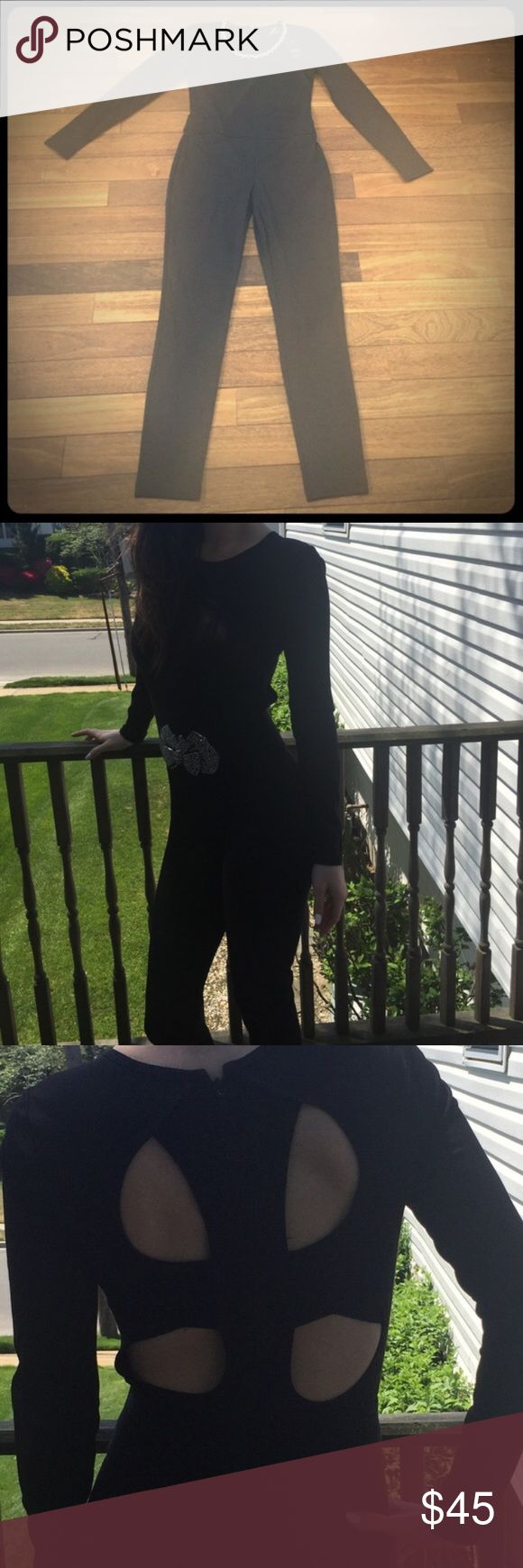 Black one piece jumpsuit One piece black jumpsuit. Tight fitting and beautiful for  dressy occasion. Can also be dressed down! Add necklace for the perfect look! Zippered back. bebe Pants Jumpsuits & Rompers