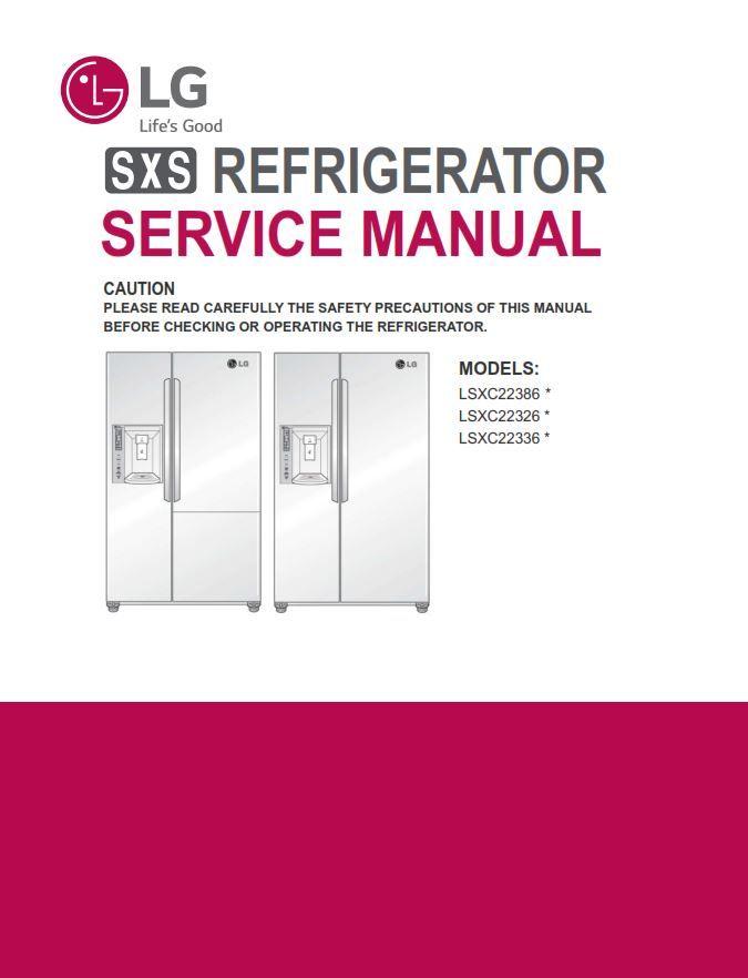 Lg lsxs26336d lsxs26336v side-by-side refrigerator original.