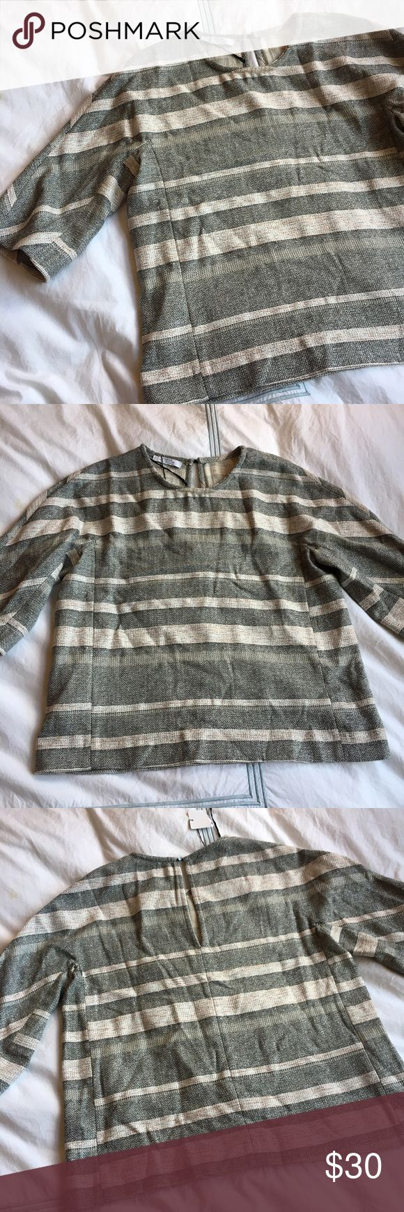 Mango suit collection striped jacquard blouse Beautiful metallic stitching in a great silhouette! NWT.  50% cotton, 29% polyester, 11% wool, 9% viscose, 1% metallic. 24 inches long. Mango Tops Blouses