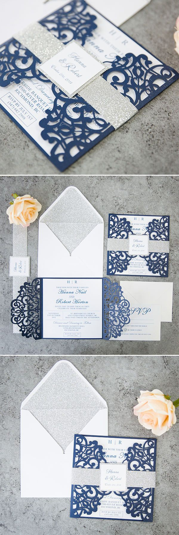 as low as $2.29 The combination of shimmer grey and navy blue is very classic for your big day. Find this laser cut wedding invitation with a belly band and little tag at elegantweddinginvites.com!