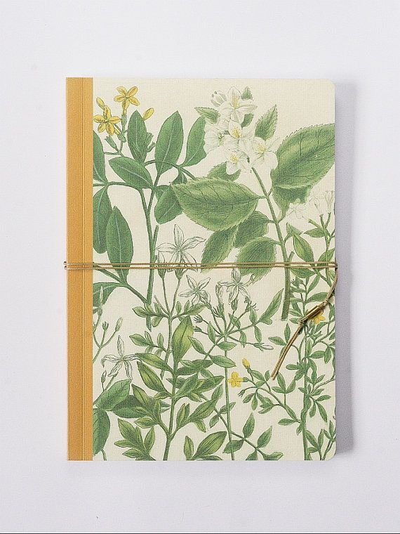 Jasmin. Handmade bind fold notebook, Journal, Diary, Floral motive, Historical illustration, special design wrapp, red yarn