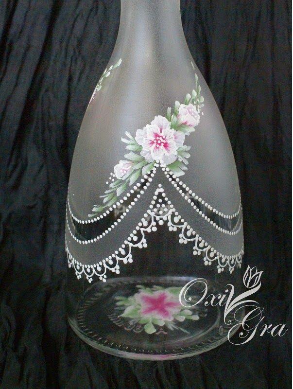 #OxiGra #koronki #ręcznie #malowane #butelka #nalewka # hand-painted #bottle