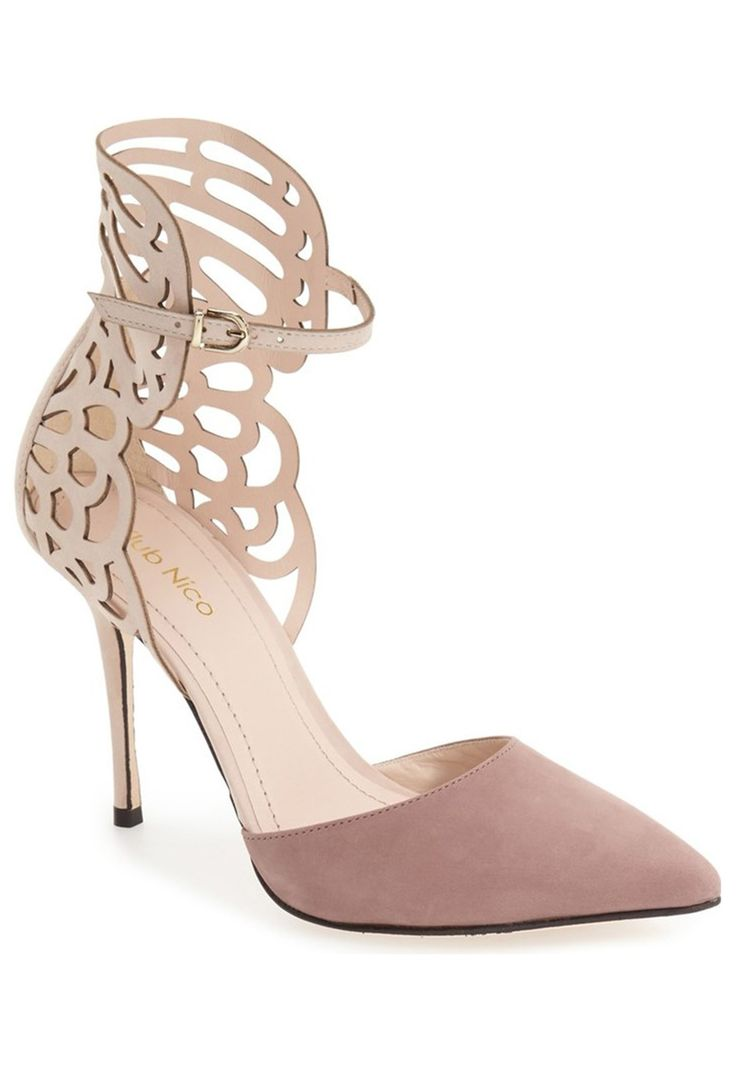Regina Pointy Toe Pump in blush and neutral tan by Klub Nico // Ornate  heel. '