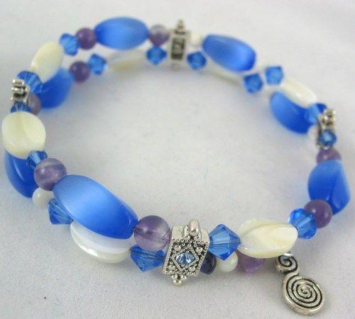 Handmade Blue Cats eye gem Mother of Pearl Memory wire bangle bracelet #Artfire #handmade #jewelry