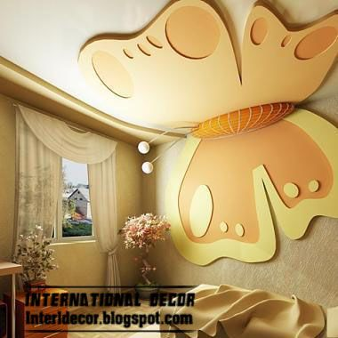 orange butterfly gypsum ceiling design for kids rooms