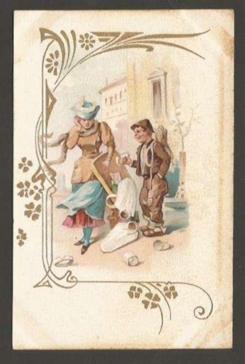 Art ? Noveau Litho Cromo Woman & Homeless Postcard #1597 L@@K