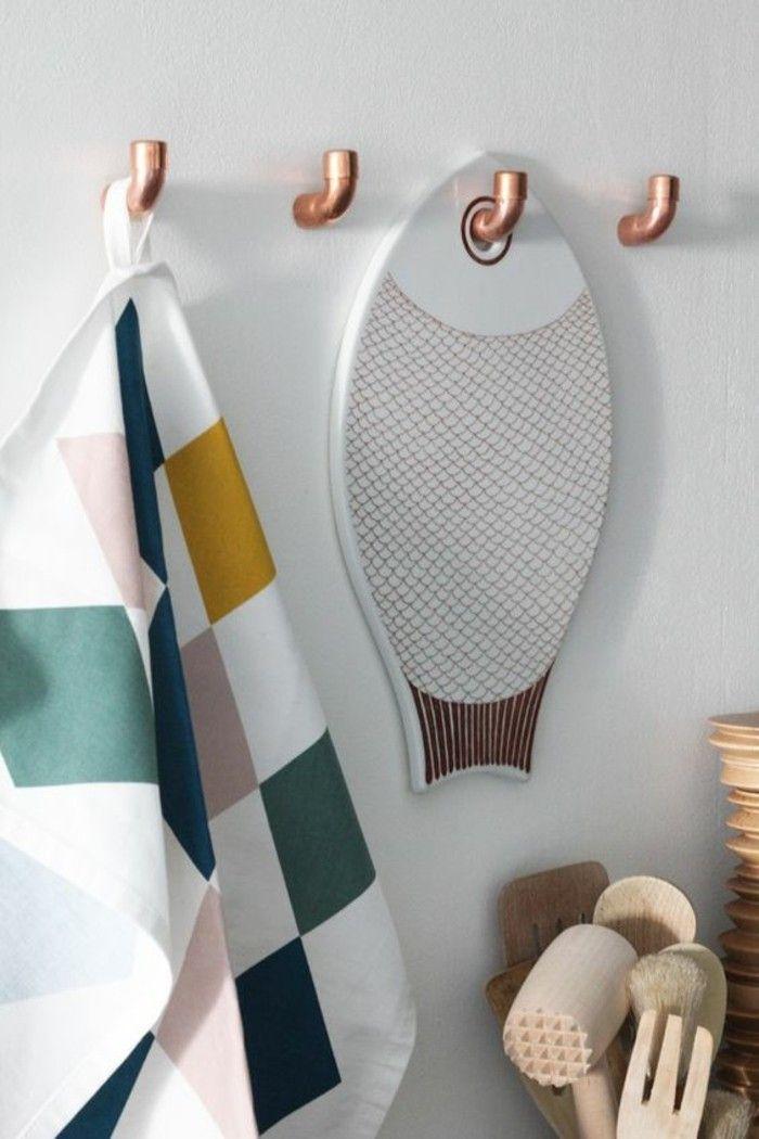 des portes ustensiles à faire soi-même, crochets en tube cuivre