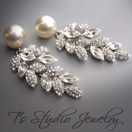 Pearl Bridal Chandelier Earrings Wedding Jewelry - Ivory Pearl and Crystal Rhinestone Earings - CAROLYN. $68.00, via Etsy.