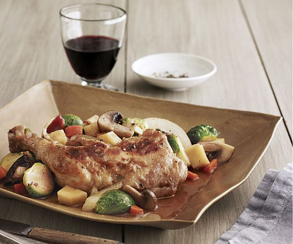 Braised Chicken with Bacon, Brussels Sprouts, and Root Vegetables ...