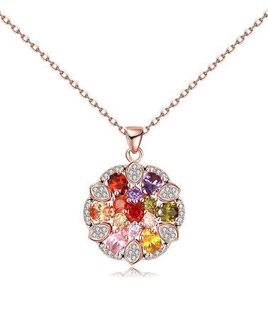 Another great find on #zulily! Purple Cubic Zirconia & Rose Gold Blossoming Pendant Necklace #zulilyfinds
