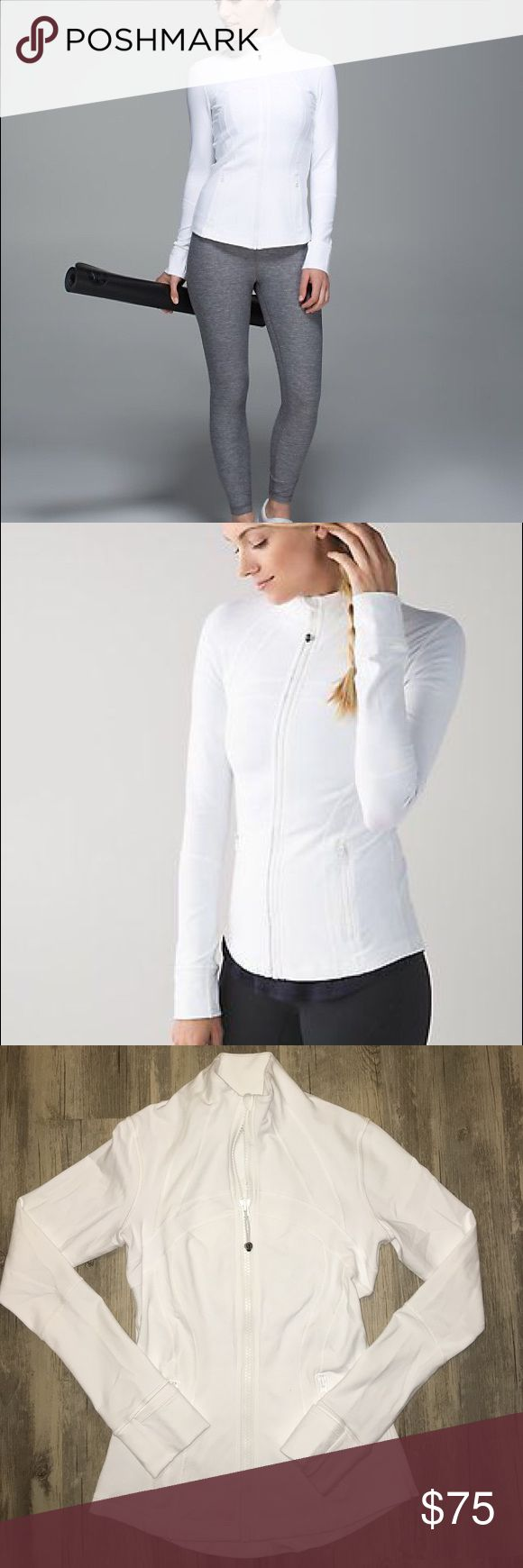 Lululemon white define jacket 4 Like new . Only wore a few times . Excellent condition . Lululemon size 4. White define jacket . Sold out . Perfect with grey or black pants . Winter white lululemon athletica Jackets & Coats